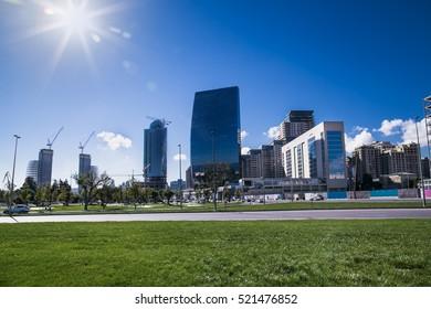 New city park in Baku , capital of Azerbaijan.