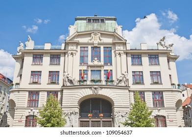 New City-hall of Prague building facade