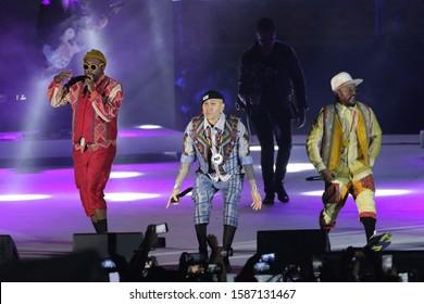 NEW CLARK CITY, PHILIPPINES - December 11, 2019 : Black Eyed Peas performance during closing ceremony of Sea Games 2019 at Athletics Stadium.