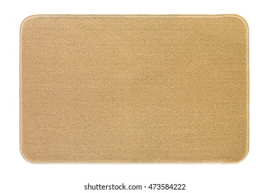 New and clean floor rug, doormat in beige color isolated on white background