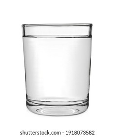 New clean glass with water isolated on white