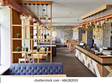 New and clean luxury restaurant in european style.Interior restaurant.Loft.