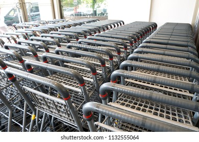 New and clean shopping cart ready for customer service in supermaket.