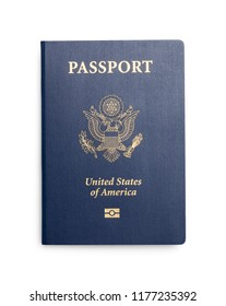 New Closed United States Passport Isolated on White Background.
