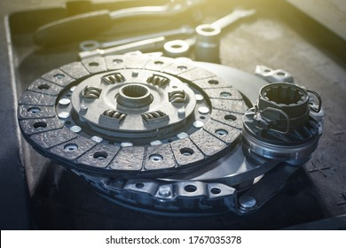 new clutch kit in a car service before installation on a car. Close up