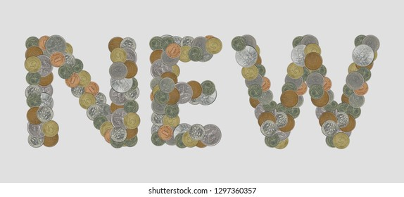 NEW – Coins on gray background