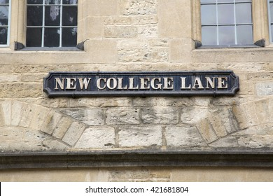 New College Lane Street Sign; Oxford; England; UK