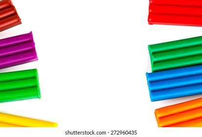 new colorful plasticine isolated on white