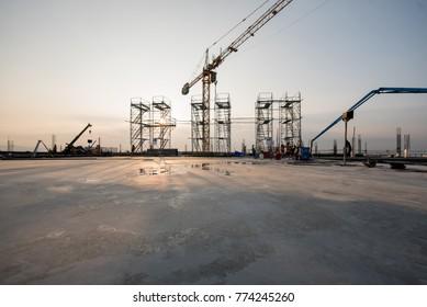 New concrete floor in construction site