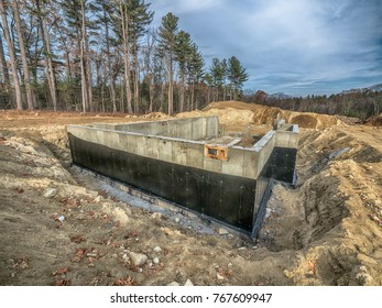 New concrete house foundation with waterproofing