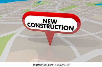 New Construction Building Project Property Map Pin 3d Illustration