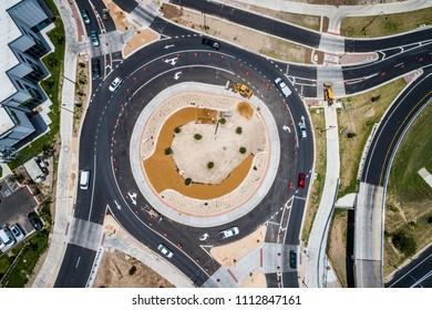 New construction development circle drone view above Round About in Austin , Texas , USA round and round Roundabout never stop at a dangerous intersection round abouts are safer alternative