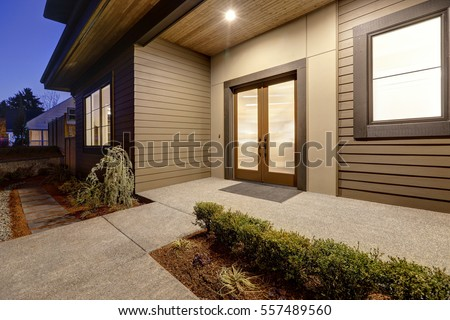 New Construction Home Exterior Contemporary House Stock Photo Edit