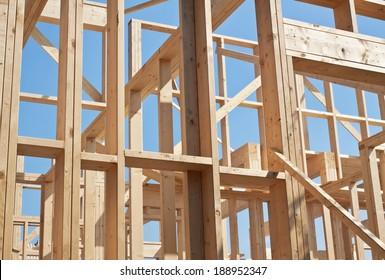 New construction of house, framework.