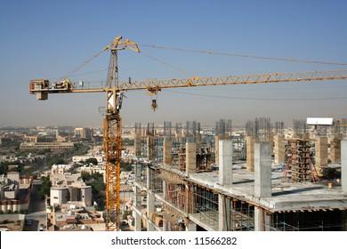 New construction of a tower building in Riyadh, SAudi Arabia.