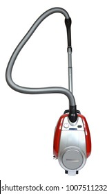 New contemporary red vacuum cleaner on white background