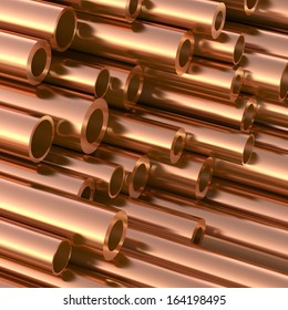 New Copper pipes. 3d illustration