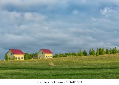 new cottages in the country in the field near the wood