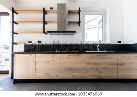 New Crafted Kitchen Wood Stainless Steel Stock Photo Edit Now