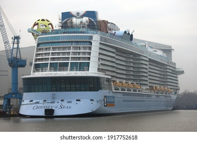The new cruise ship Odyssey of the Seas will be lying in front of the Meyer Werft in Papenburg on January 1, 2021