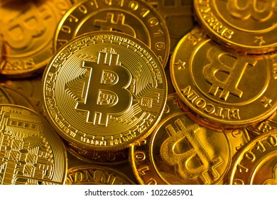 new crypto currency concept.Bitcoins ,Gold Coins ,Cryptocurrency with space for your Concept .