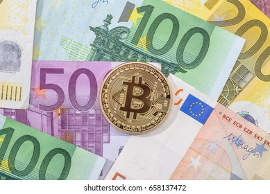new crypto currency on euro banknote. business concept