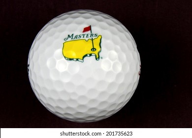 New Cumberland, PA, USA - March 9, 2014 : The Masters Tournament logo on a golf ball with black background