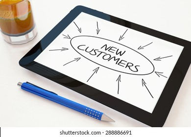 New Customers - text concept on a mobile tablet computer on a desk - 3d render illustration.