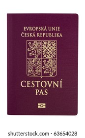 New Czech passport, isolated on white.  Clipping path included.