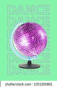 New dance world is opened. Alternative dancing Earth. Purple globe as a sparkling discoball spinning against light green background. Music concept. Modern design. Contemporary pop-art collage.