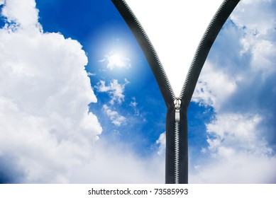 New day concept. Zipper and clouds