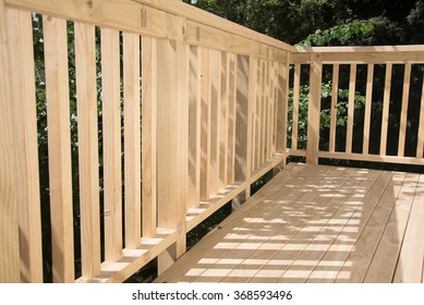 New deck patio built of wood, pine timber