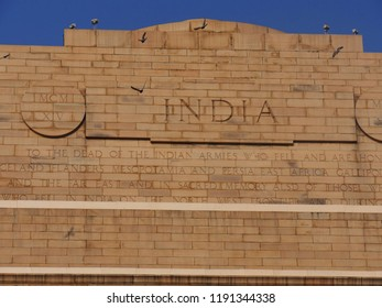 NEW DELHI, INDIA—MARCH 2018: Close up of the inscription om the cornices of the India Gate.