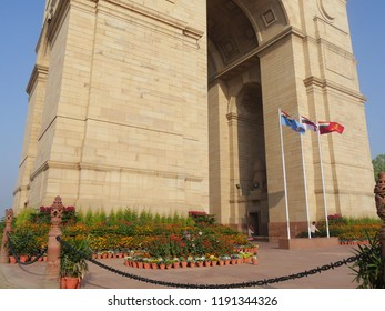 NEW DELHI, INDIA—MARCH 2018: Upward close up of the lower part of the India Gat early in the morning