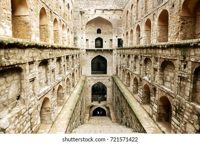 NEW DELHI - 24 SEPTEMBER 2017: Agrasen ki Baoli in New Delhi. Visitors enjoying a pleasant Sunday morning at Agrasen ki Baoli.