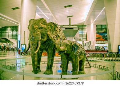 New Delhi airport, Delhi, India - Dec 19: A side shot of statues of Mother and child elephants