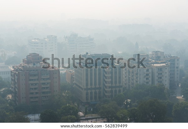 NEW DELHI - DEC 18: severe air pollution in New Delhi city center on December 18, 2016 in New Delhi,India. New Delhi has an alarming level of air pollution (AQI >500), one of the highest in the world.