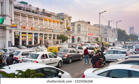 New Delhi - December 24, 2018 : View of Connaught Place with traffic congestion. Connaught Place is largest financial, commercial, shopping center and business spots in New Delhi
