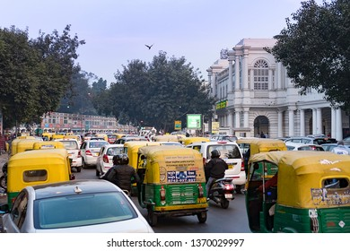 New Delhi - December 24, 2018 : View of Connaught Place with traffic congestion. Connaught Place is largest financial, commercial, shopping center and business spots in New Delhi.