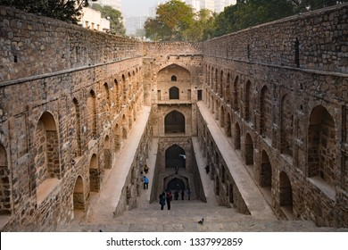 New Delhi - December 25, 2018 : View of Agrasen ki Baoli or step well or pond. Agrasen Ki Baoli is a popular tourist destination in New Delhi.