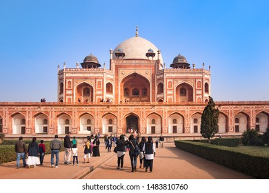 New Delhi - December 25, 2018 : Tourists visiting at Humayun's Tomb, influenced by Persian architecture, of Mughal Emperor Humayun. Humayun's tomb is a UNESCO World Heritage Site since 1993.
