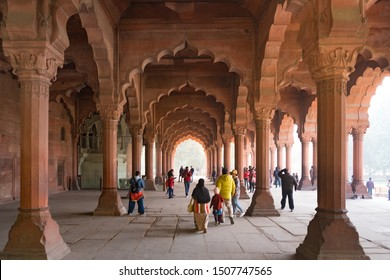 New Delhi - December 25, 2018 : Tourist walking and sightseeing red sand stone colonnades in Red Fort or Lal Qila.