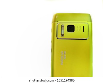 New Delhi, Delhi/India - mar 27, 2019: Nokia n8 isolated on white background. Old Nokia limited smartphone, phone. One of Nokia's most popular phones. Hmd global Home of Nokia smartphone. Symbian OS.
