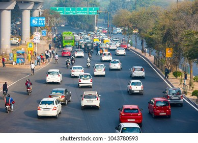 NEW DELHI - FEB 23: Car traffic in New Delhi, city covered in the smog on February 23. 2018 in India