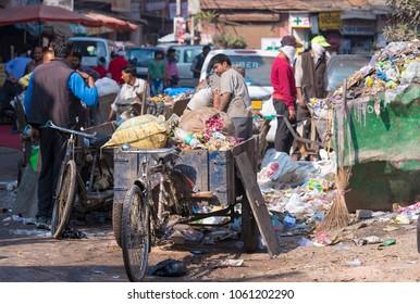 NEW DELHI - FEB 26: Waste trash garbage dumping ground in New Delhi on February 26. 2018 in India