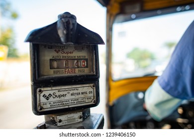 NEW DELHI - INDIA - 02 DECEMBER 2017. Close-up view of a taxi meter on a auto rickshaw (also known as Tuc Tuc). The tuk-tuk, or auto rickshaw (in India), or also known as Bajay or Bajaj in Indonesia.