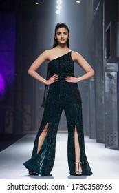 New Delhi, Delhi / India - 03/18/2017: Indian bollywood superstar actress Alia Bhatt walks the ramp for designer Namrata Joshipura at the Amazon India Fashion Week