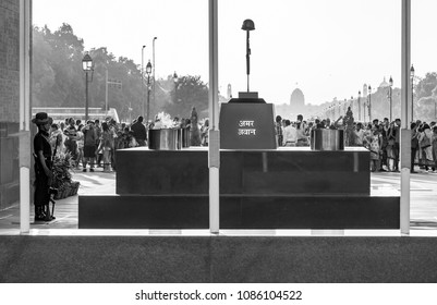 New Delhi, Delhi / India - 04/25/2018: Amar Jyoti Jawan - Immortal's Rifle, India Gate, Delhi, India.