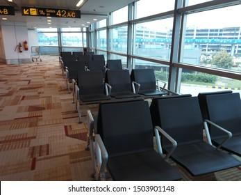 NEW DELHI, INDIA 06 FEBRUARY 2018: waiting hall chairs seating arrangement at Delhi Indhira Gandhi international airport