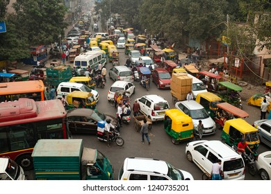 NEW DELHI - INDIA - 11 NOVEMBER 2017. Traffic jam on the polluted streets of New Delhi, India. Delhi has the highest number of motor vehicles and the traffic congestion is limited in few areas.